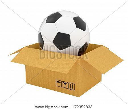 Open cardboard box with soccer ball, Isolated on white background. 3D Rendering