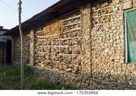 Stone wood and mud façade in a village in Kenya