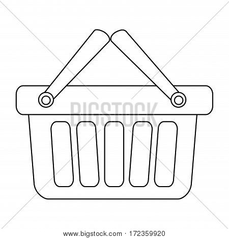 monochrome contour with shopping basket with two handle vector illustration