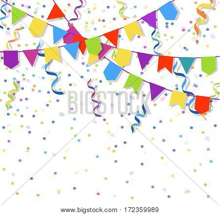 Festive flags garlands and exploding paper bunting confetti vector illustration. Party decoration confetti and colored flags