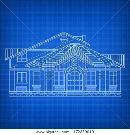 Architectural drawing facade of building house on blue