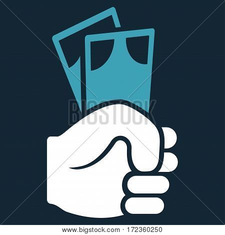 Banknotes Salary Hand vector icon. Flat bicolor blue and white symbol. Pictogram is isolated on a dark blue background. Designed for web and software interfaces.