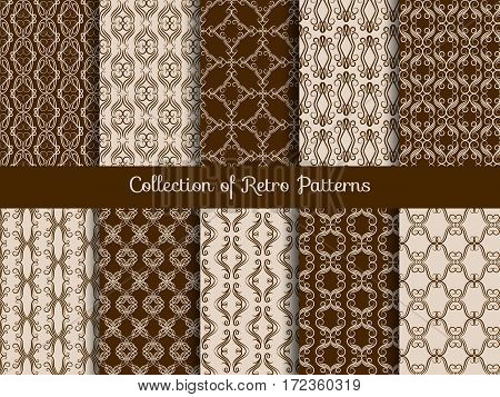 Vintage floral seamless pattern set. Retro asian tile samples on sepia background. Artistic pattern traditional illustration