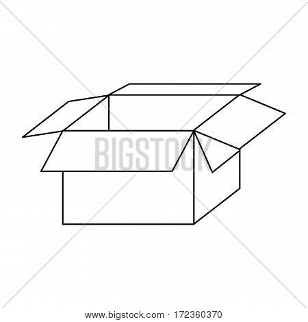 monochrome contour with packing open and empty vector illustration
