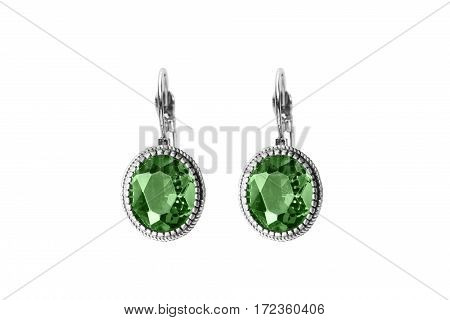 Vintage large emerald earrings on white background