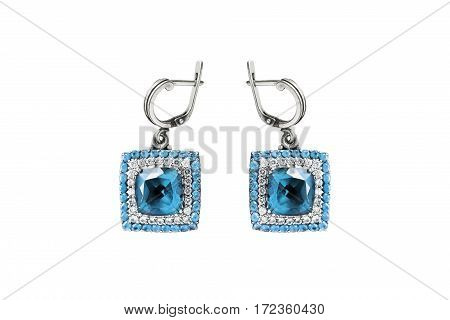 Topaz and diamonds earrings isolated over white