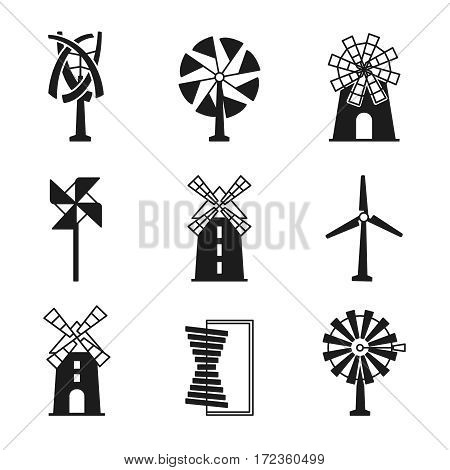 Windmill icons. Vector wind turbine and mill black signs isolated on white background. Grain mill icon illustration