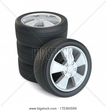 Car black new wheels, isolated on white background. 3d illustration
