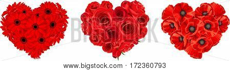 Vector hearts of red roses, gerbera and poppy flowers isolated on a white background.