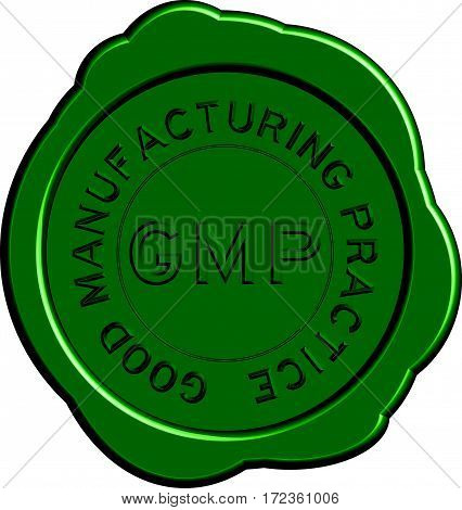 Green GMP (Good manufacturing practice) round wax seal on white background
