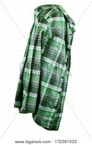 Green men's T-shirt with long sleeves with rear and side views on a white background