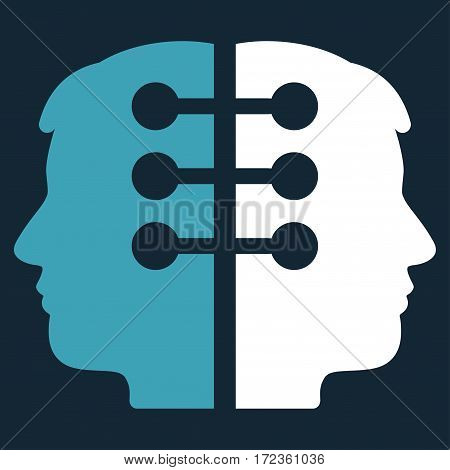 Dual Head Interface vector icon. Flat bicolor blue and white symbol. Pictogram is isolated on a dark blue background. Designed for web and software interfaces.