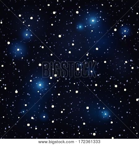 Night sky with bright shining stars. Vector seamless background.
