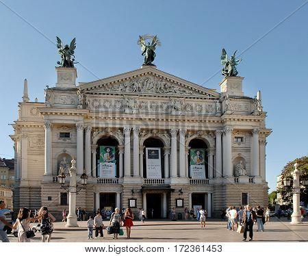 Lviv Ukraine - Jule 22 2016: Front view of the Opera Theatre. Theatre is built in Viennese neo-Renaissance style