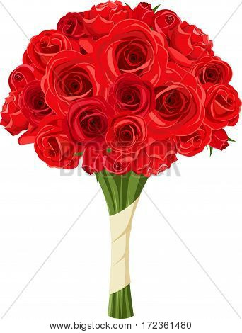 Vector bouquet of red roses isolated on a white background.