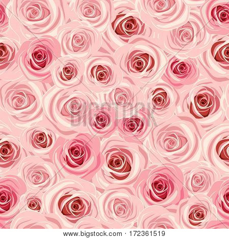 Vector seamless background with pastel pink roses.