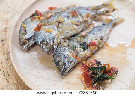Mackerel spicy on wood dish, Thailand style food
