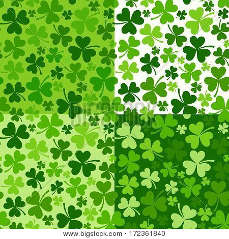 Vector set of four St. Patrick's day seamless backgrounds with green shamrock.