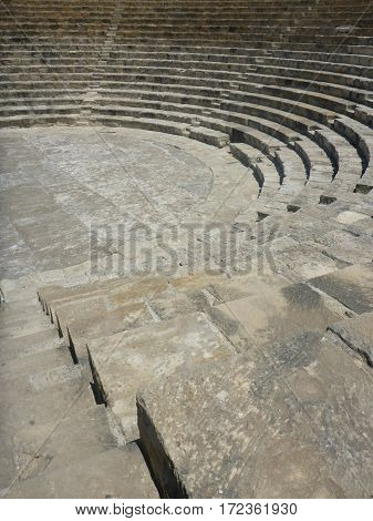 Ruins of ancient Amphitheatre in Kourion, Cyprus