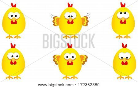 collection of six funny yellow easter chickens with several expressions vector illustration