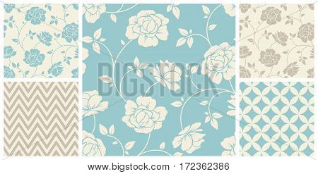 Vector set of vintage seamless floral and geometric patterns in blue and beige colors.