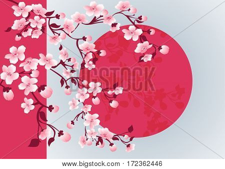 japanese cherry blossom art picture. Vector sakura tree