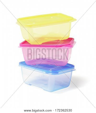 Stack of Colourful Plastic Containers on White Background