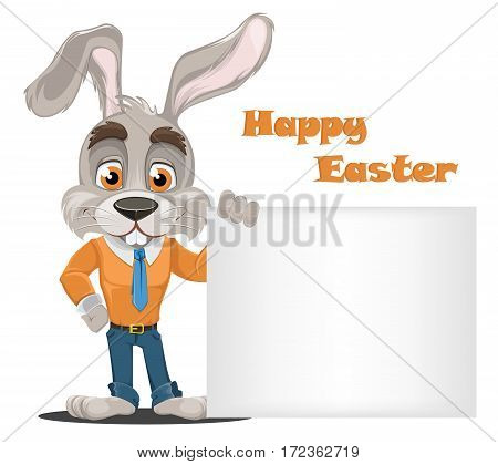 Bunny cartoon character. Cute rabbit businessman standing near big blank board wearing office style clothes. Vector illustration.