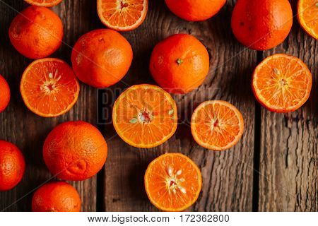 Basket Of Tangerines On A Wooden Table. Delicious And Beautiful Tangerines. Citrus Background. Manda