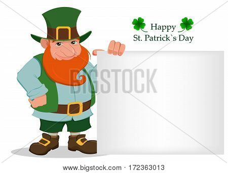 Happy Saint Patrick's Day. Cartoon happy leprechaun standing near big blank sign. Character with green hat and red beard and four leaf clover. Vector illustration. Usable for sale invitation banner