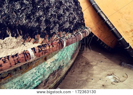 Mui Ne - January 2017: Traditional basket boats on the beach.