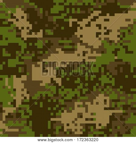 Seamless Pattern Protective Camouflage  Brown Coloration Pixel Fatherland  Vector Illustration