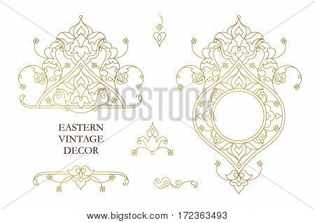 Vector Set Of Vintage Decor In Eastern Style.