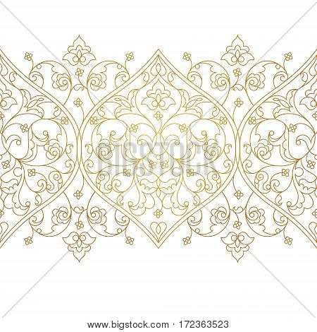 Vector Line Art Seamless Border In Eastern Style.