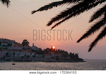 Sunset at the town of Korcula on Croatia