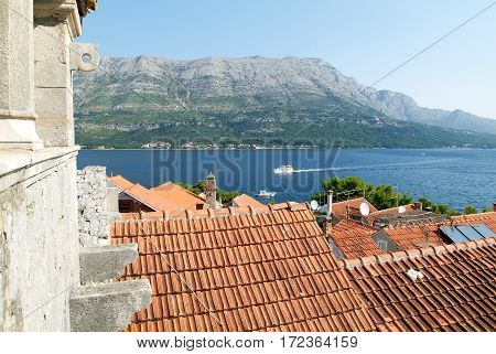 View from Marco Polo's house at the old town of Korcula on Croatia