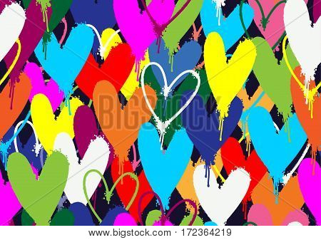 Spray pained colorful hearts seamless pattern background