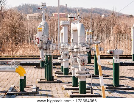 Regulating station with pressure relief valves instrumentation and pressure regulating valves and pipes.