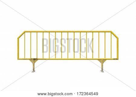 Isolated yellow temporary fence, over a white background.