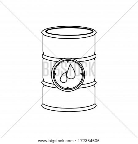 monochrome contour with petroleum barrel vector illustration