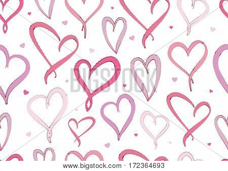 Valentine's Day Violet Hearts Seamless pattern on white background.
