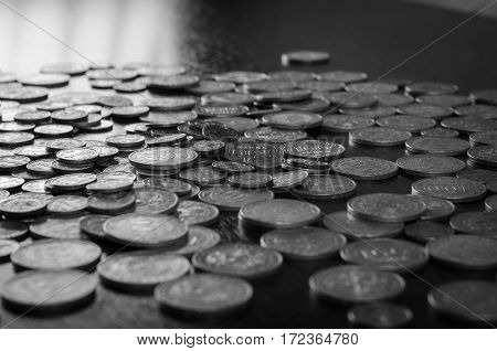 Kazakhstan Tenge coins on a wooden table. national coins