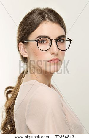 Young Pretty Girl, Classic Portrait On The White Background. Nude Style, Office Look In Glass