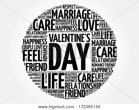 Valentine's Day Circle Word Cloud