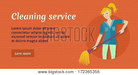 Cleaning service conceptual vector web banner. Flat style. Smiling woman washing floor mop. Illustration with play button for housekeeping companies online services, sites, video, corporate animation