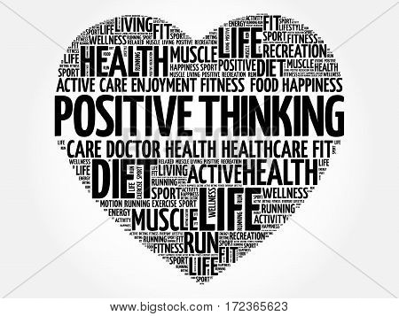 Positive Thinking Heart Word Cloud