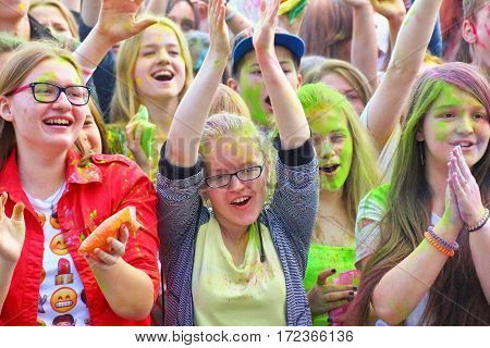TULA RUSSIA - JUNE 13 2016: Young girls at music concert dedicated to festival of colors Holi on June 13 2016 in Tula Russia
