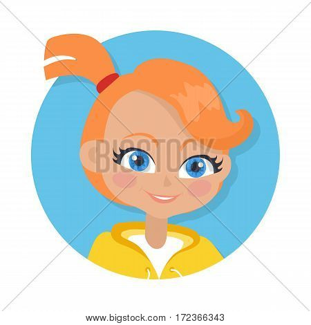 Girl with red pigtail and forelock avatar userpic. Portrait of nice female person with blue eyes. White t-shirt, yellow jacket. Simple cartoon style. Front view. Flat design. Vector illustration