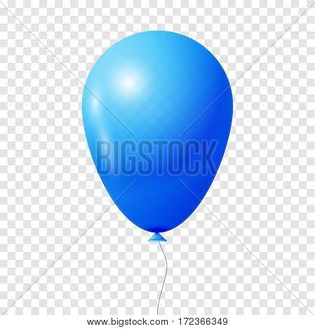 Blue Balloon. Transparent isolated Vector illustration, EPS 10