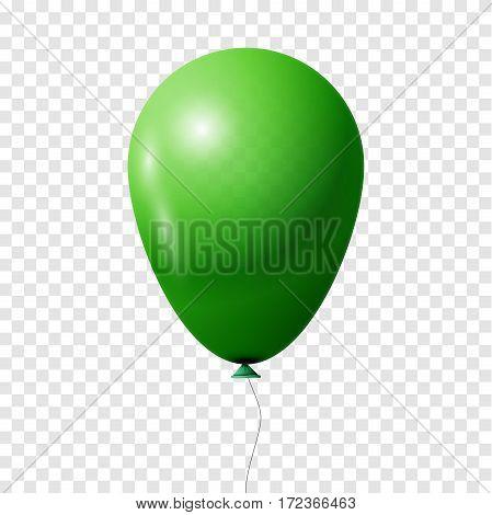 Green Balloon. Transparent isolated Vector illustration, EPS 10